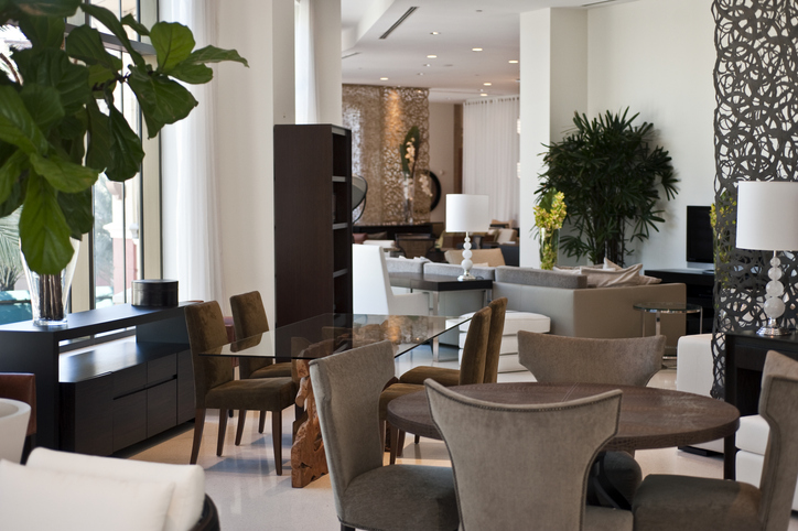 Dining room in a furniture showroom
