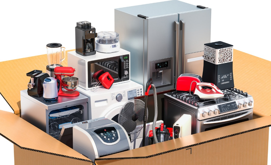 parcel-with-household-and-kitchen-appliances-delivery-concept-3d-picture-id978562126